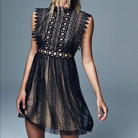 526ac9dad4f NWT Free People Black Forever Lace Babydoll Dress